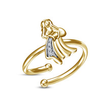 New White RD Diamond Yellow Gold Plated .925 Silver Aquarius Zodiac Men's Ring - £11.90 GBP
