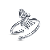 Beautiful White CZ White Platinum Plated Aquarius Zodiac Sign Adjustable Ring - £11.90 GBP