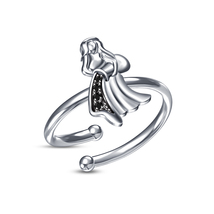 Black CZ 18k White Platinum Plated Aquarius Zodiac Sign Open Adjustable Ring - £12.03 GBP
