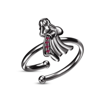 RD Pink Sapphire Black Gold Plated Aquarius Zodiac Signs Adjustable Ladies Ring - £18.31 GBP