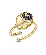 Round Black Diamond Solid Yellow Gold Plated Aries Zodiac Signs Adjustab... - £12.29 GBP