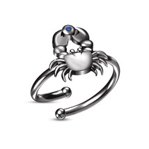 .925 Silver Blue Sapphire 18k Black Gold Plated Cancer Zodiac Adjustable Ring - £18.31 GBP
