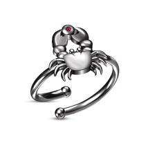 Full Black Gold Plated RD Pink Sapphire Zodiac Sign Cancer Adjustable Size Ring - £18.06 GBP
