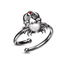 New Fashion RD Red Garnet 14k Black Gold Plated Adjustable Cancer Zodiac Ring - £18.25 GBP