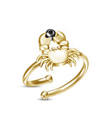 Graceful Yellow Gold Fn 925 Silver Astrology Cancer Zodiac Sign Ring W/ ... - £12.11 GBP