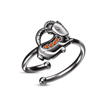 Beautiful Design Orange Sapphire Capricorn Zodiac Sign Ladies Adjustable Ring - £18.25 GBP