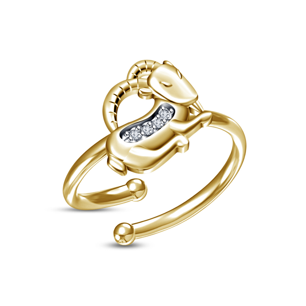 Primary image for New Modern RD White CZ Yellow Gold Fn Capricorn Zodiac Sign Adjustable Ring