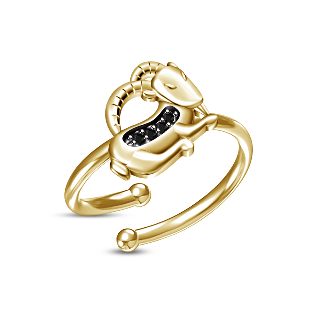 Primary image for New 14k Yellow Gold Plated RD Black Sim.Diamond Capricorn Zodiac Adjustable Ring