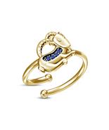 New Choice Blue Sapphire Yellow Gold Over Capricorn Zodiac Sign Adjustab... - £10.65 GBP