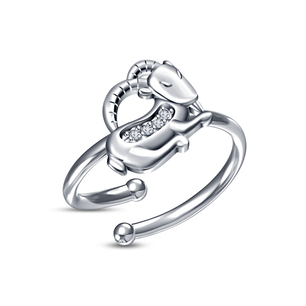 Primary image for Buy Now! Exclusive RD Sim Diamond White Platinum Fn Capricorn Zodiac Men's Ring