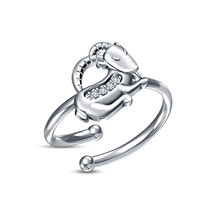 Buy Now! Exclusive RD Sim Diamond White Platinum Fn Capricorn Zodiac Men's Ring - £8.02 GBP