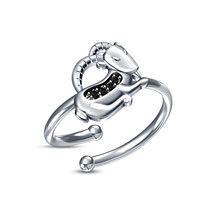 New RD Black Simulated Diamond Capricorn Sign Ring In 925 Pure Sterling Silver - £8.02 GBP