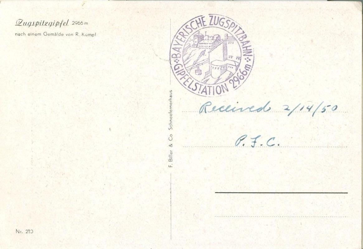 Germany, Zugspitzgipfel, nach einem Gemalde von R. Kumpf, 1950 used Postcard