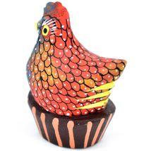 Handmade Alebrijes Oaxacan Painted Wood Folk Art Chicken Hen Basket Figurine image 3