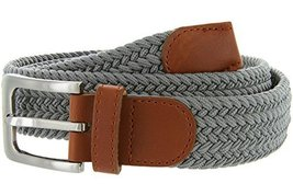 Elastic Fabric Woven Stretch Belt Leather Inlay Multi-Color Options(Gray,X-La... - $12.95