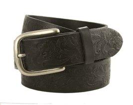"""Men's Western Vintage Engraved Belt 1-1/2"""" Wide Black Brown White (44, Black) - $23.70"""