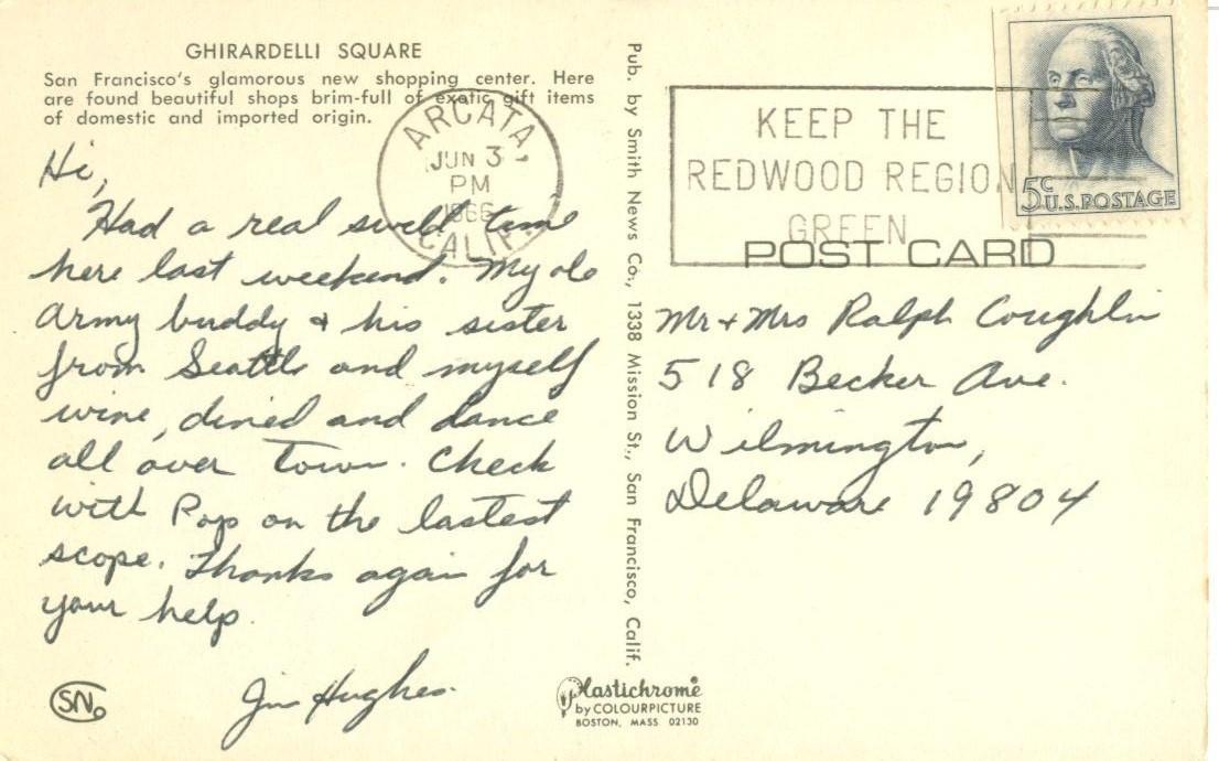 Ghirardelli Square, San Francisco, California, 1966 used Postcard
