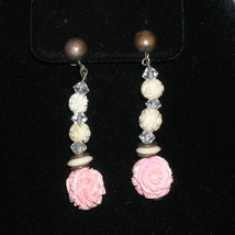 Fine Antique Vintage Sterling Carved Rose Bone Earrings  - $150.00