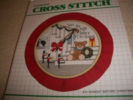 Night Before Christmas Cross Stitch Kit: Comes with Hoop, Fabric, Needle... - $7.00