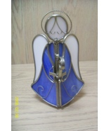 Angel  Blue and White Metal & Plastic Candle Holder - $9.95