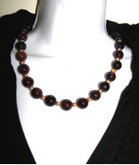 Black Agate FW Pearls  Hnadcrafted  NECKLACE Big Bold Fall colors - $28.00