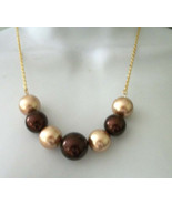 Glass Pearls Necklace  Earrings set Chocolate & Almonds  gold filled  chain - $21.00