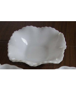 Vintage White Milk Glass Ruffled Edge Bowl shab... - $12.00