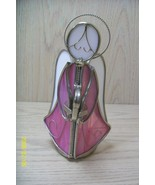 Metal & Plastic Pink and White Angel holding a ... - $9.95