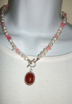 Unique white  FW Pearls Pink & coral  necklace w  Red JAsper Pendant - $21.00