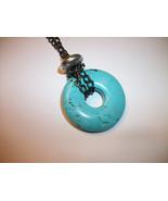 30-35 mm gemstone donut  pendant Men Unisex neckalce many options  - $14.99