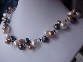 UNIQUE Tri color FW Pearls cluster Necklace earrings set Bronze & Peacock - $24.00
