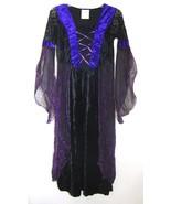 Vampiress Dress DARK ANGEL Costume Purple Black Velvet Goth Corset Long ... - $39.59