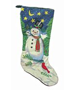 Giant 33 Inch Needlepoint Snowman Christmas Stocking - $16.95