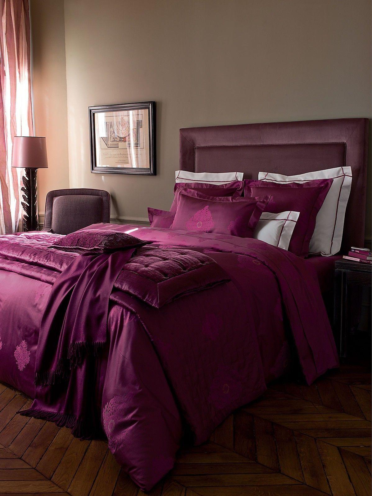 Yves Delorme Impression Reflet Rubino King Coverlet Silk ...