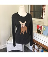 Womens J Crew Gray Frenchie Knitted Intarsia Wool Bulldog Sweater Size L - €19,38 EUR
