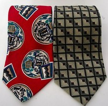 Robert Talbott Silk Tie Lot Of Two Red Abstract Brown Square Made USA It... - $34.99