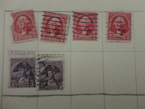 Lot of 6 Vintage 1932 US Postage Stamp Washington 2c Rose 3c Violet