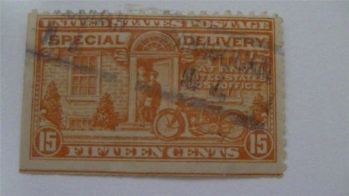 Old Postman and Motorcycle Special Delivery Deep Orange Used USA 15 Cent Stamp