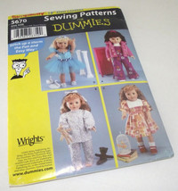 "Doll Clothes Sewing Pattern Simplicity 18"" 5670 PJ Ballet Dress American Dummies - $18.76"