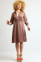 H& M Print Dress- Silky effect Retro Style Coffe  - $19.78