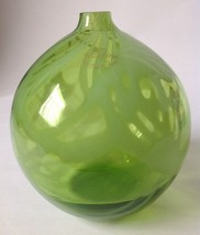 Krosno Jozefina Green Swirl Art Glass Oil Lamp Vase Globe w Label Hand B... - $49.44
