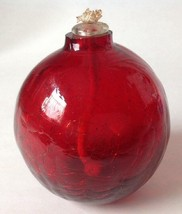 """Ruby Red Crackle Art Glass Oil Lamp Globe Hand Blown 4"""" - $29.64"""