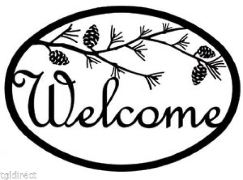 Primary image for Wrought Iron Welcome Sign Pinecone Silhouette Plaque Outdoor Decor Pine Tree