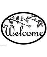 Wrought Iron Welcome Sign Pinecone Silhouette Plaque Outdoor Decor Pine ... - $46.99