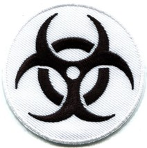 Biohazard symbol sign danger poison toxic warning applique iron-on patch S-242 - $2.95