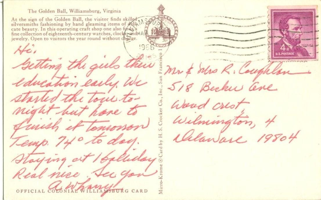The Golden Ball, Williamsburg, Virginia, 1966 used Postcard