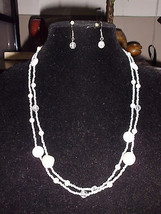 Vtg Silver Tone White Glass Beaded Necklace and Earring Set - $12.38