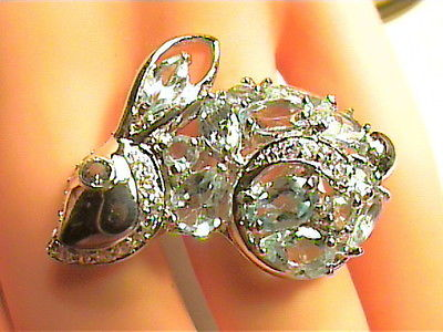 aqua aquamarine  sapphire sterling silver 6 ring 925 sterling silver RABBIT NICE