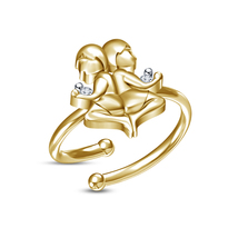 Yellow Platinum Plated White RD Sim.Diamond Ladies Gemini Zodiac Adjustable Ring - £8.02 GBP