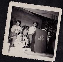 Antique Vintage Photograph Band w/ Musical Instruments Sitting on Stage - $5.94